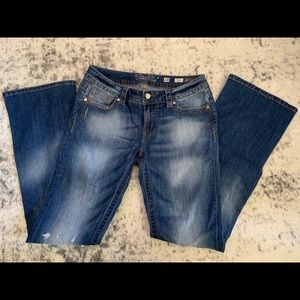 Miss Me Mid-Rise Boot Cut Distressed Jeans Size 29